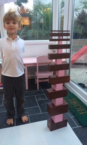 Proud of his Pink Tower and Brown Stair combination